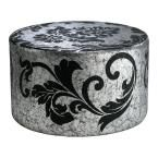 Prospect Round Leather Ottoman in Silver And Black