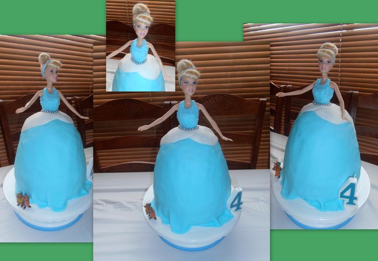 "Second born daughter turned 4 and was very keen for a Cinderella themed cake and party. She was very kind to me and what she asked for was nice and simple, I was 40 weeks pregnant with my fourth when I made this and the weather was HOT so a nice simple doll cake was a bit of a relief :) and she was completely thrilled as it was exactly what she asked for ""Cinderella in a blue dress but a little bit sparkly please and with her little mousy friends beside her too"" <3"