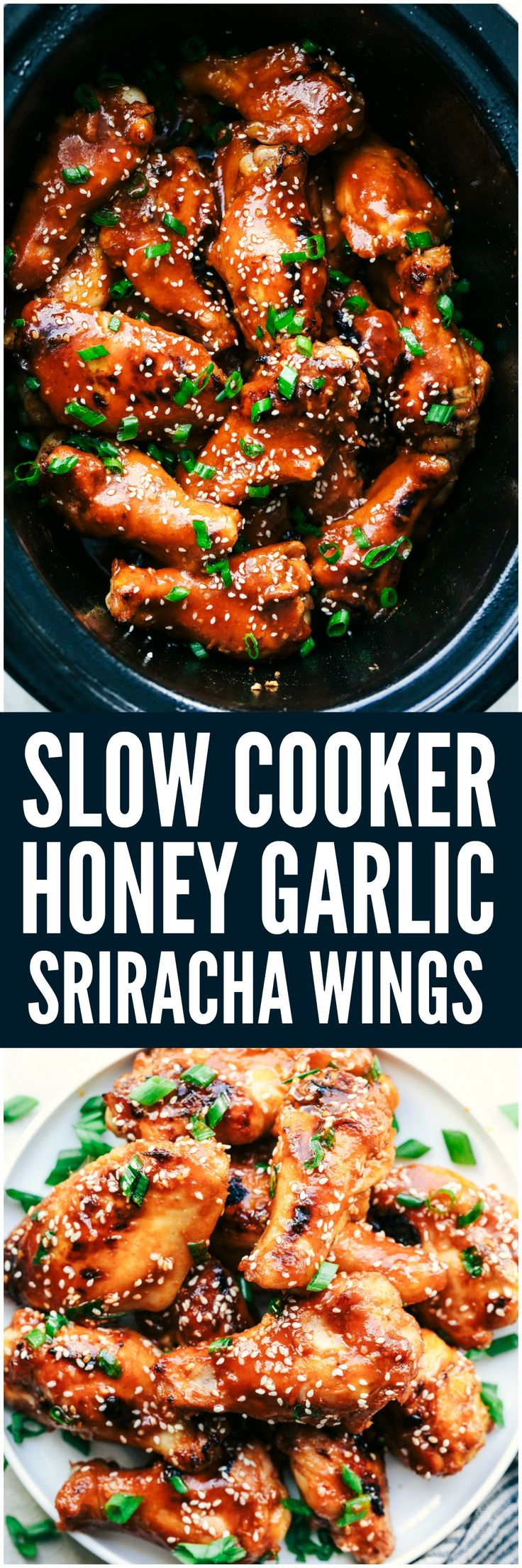 Slow Cooker Honey Garlic Sriracha Wings are super easy to make and have amazing sweet and spicy flavor!  They are fall off the bone tender and will be the hit at any party!