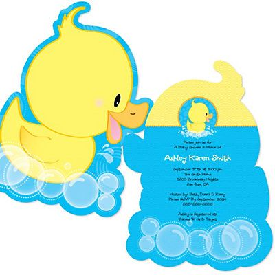Ducky duck shaped baby shower invitations for Baby clothesline decoration baby shower