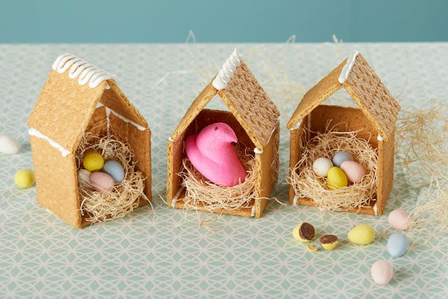 Graham cracker houses make charming nests for Marshmallow Peeps Chicks. A delightful decoration for your holiday table.