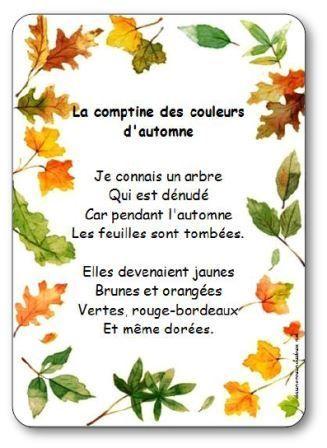 Paroles de la comptine Les couleurs de l'automne : Je connais un arbre, Qui est dénudé, Car pendant l'automne, Les feuilles sont tombées...