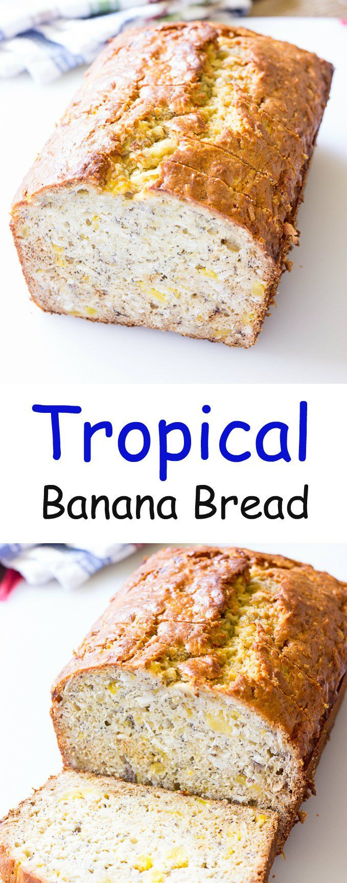 Tropical Banana Bread - Like traditional banana bread but this recipe is made with coconut oil, crushed pineapple, and shredded coconut.  It's perfect for breakfast, or a snack.
