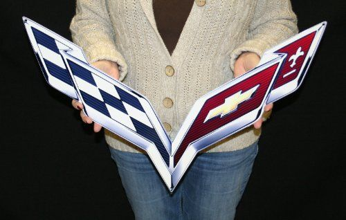 """C7 Corvette Crossed flag Wall Emblem Large Metal Art 2014 and Newer Full 24"""" by 15"""" In Size Cross Flag - http://www.caraccessoriesonlinemarket.com/c7-corvette-crossed-flag-wall-emblem-large-metal-art-2014-and-newer-full-24-by-15-in-size-cross-flag/  #2014, #Corvette, #Cross, #Crossed, #Emblem, #Flag, #Full, #Large, #Metal, #Newer, #Size, #Wall #Corvette, #Enthusiast-Merchandise"""