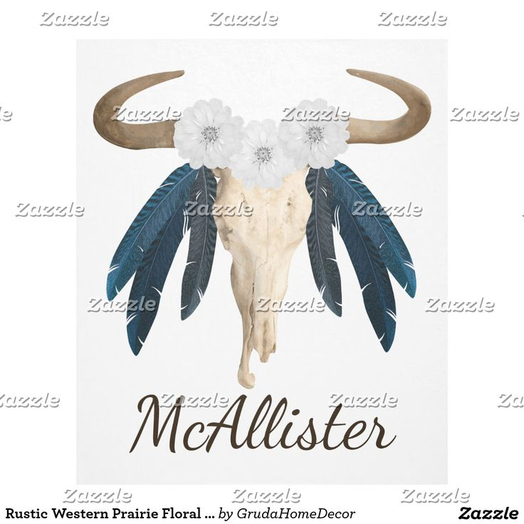 Rustic Western Prairie Floral Cow Skull Feathers