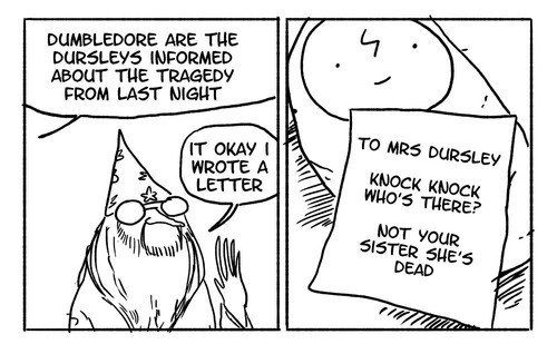 Plus, as terrible as the Dursleys were, he didn't really take their feelings into account. | These Hilarious Harry Potter Comics Show How Irresponsible Dumbledore Was