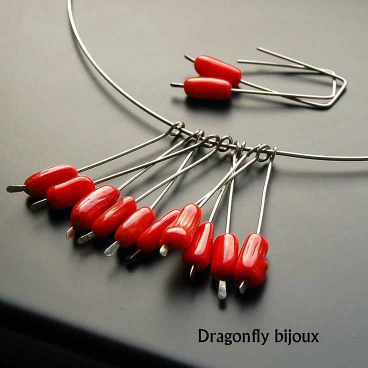 handmade red coral earrings and necklace set http://dragonflysjewelry.blogspot.cz/