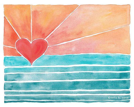 Wave Art - Surf Art - Beach Art - Sunny Days Art Print - Pink - Coral - Heart on Etsy, $18.00