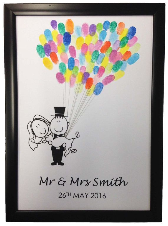 Wedding guest book alternative personalised gift fingerprint tree balloon decoration favour Mr & Mrs FPT104MC