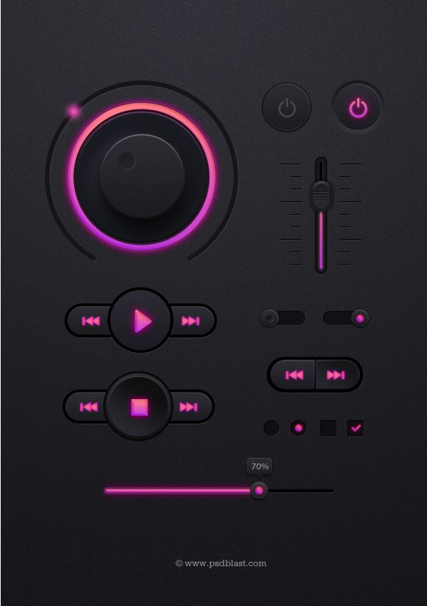 Music #Player #UI Kit,  #Buttons, #Checkbox, #Dark, #Free, #Knob, #Progress, #PSD, #Radio, #Resource, #Slider, #Switch, #Toggle, #Volume