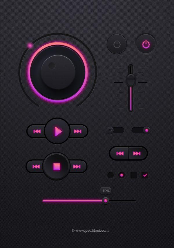 Dark UI design PSD