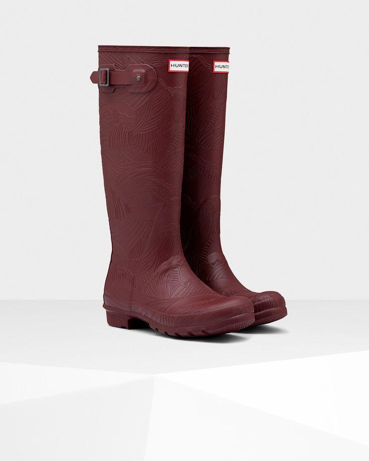 Women's Original Tall Wave Texture Wellington Boots | Official Hunter Boots Site