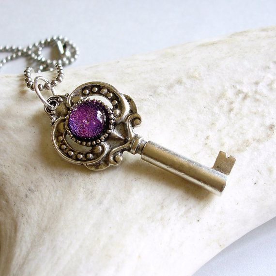 skeleton key necklace with glass
