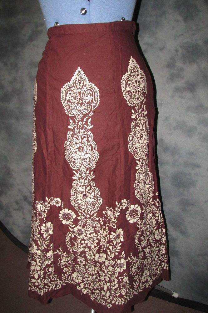 Phool,ladies,plus size 20,brown floral,calf length,holiday,casual,flared,Skirt.