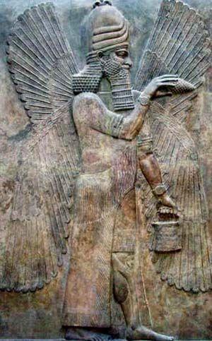 A carving of an Anunnaki, an ancient  Mesopotamian deity of the underworld