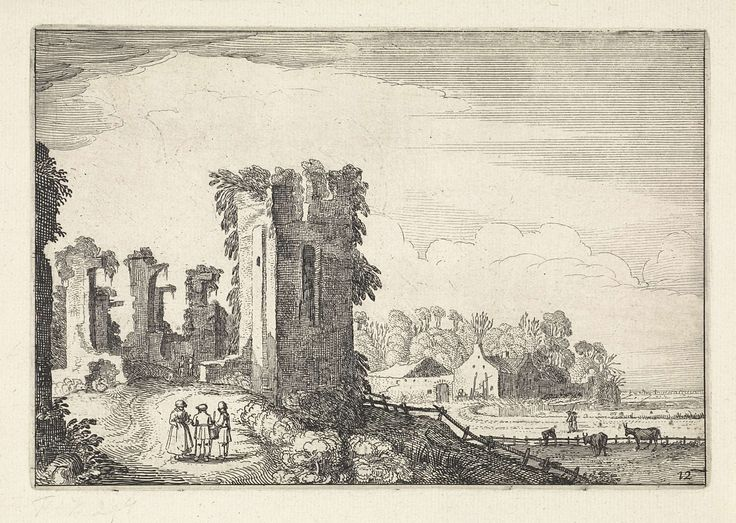 Jan van de Velde (II) | Figuren bij het Huis ter Kleef bij Haarlem, Jan van de Velde (II), 1616 | Figuren bij het Huis ter Kleef bij Haarlem. Op de achtergrond een boerderij. Twaalfde prent van deel twee van een serie van in totaal zestig prenten met landschappen, verdeeld over vijf delen van elk twaalf prenten.