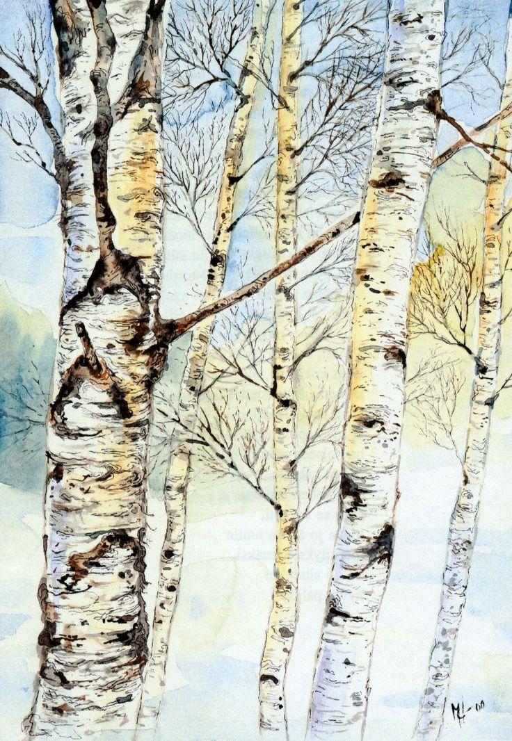 Koivut-Akvarelli