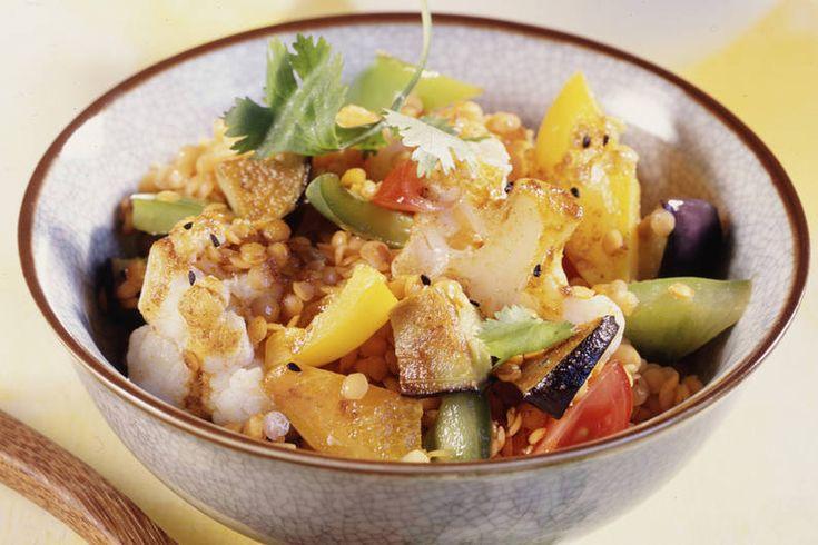 Das Rezept für Linsencurry mit Gemüse mit allen nötigen Zutaten und der einfachsten Zubereitung - gesund kochen mit FIT FOR FUN