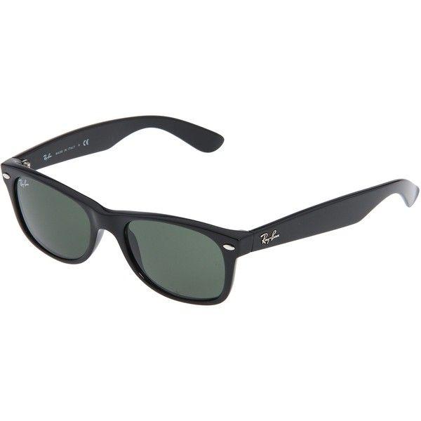 Ray-Ban Unisex New Wayfarer Sunglasses ($104) ❤ liked on Polyvore featuring accessories, eyewear, sunglasses, ray ban sunglasses, green lens sunglasses, wayfarer sunglasses, black plastic sunglasses and ray ban wayfarer