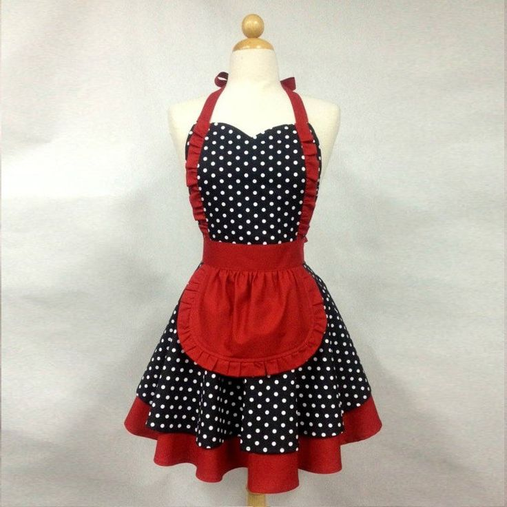 tablier femme vintage claudine noir et rouge par booojibooo
