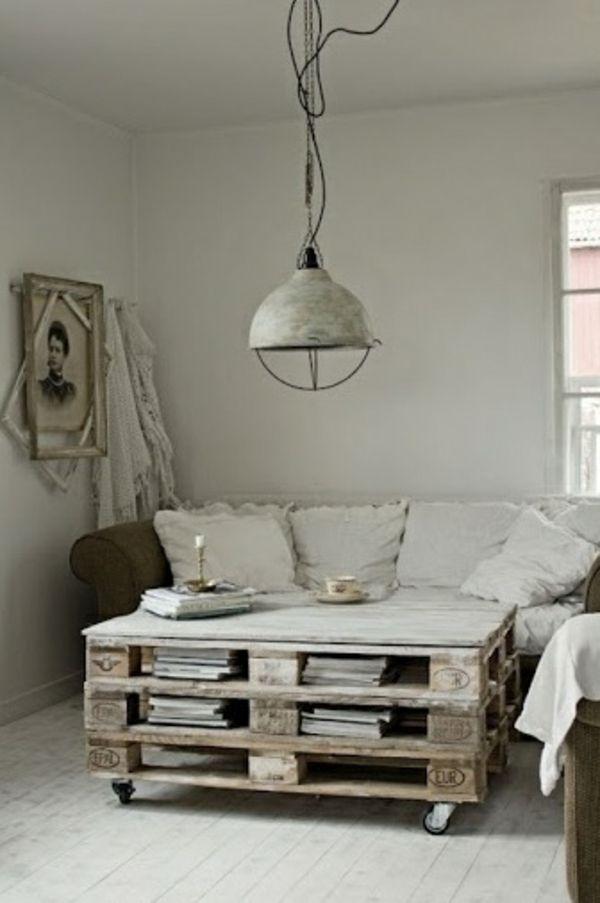 Dekorativer Tisch Aus Paletten Im Wohnzimmer Selber BauenDeko