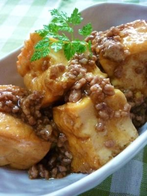 deep-fried tofu with minced beef sauce recipe