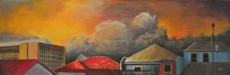 Andy Kent Fremantle Artist Late Storm, acrylic on canvas, 90cm x 30cm, $550