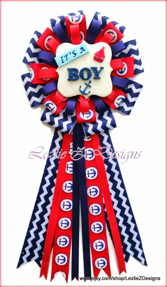 Nautical Anchor Ahoy Baby Boy Theme Shower Corsage Pin Keepsake -Mommy Cold Porcelain Favor Red Navy Blue Chevron Ribbon Capia Mom to Be Mum