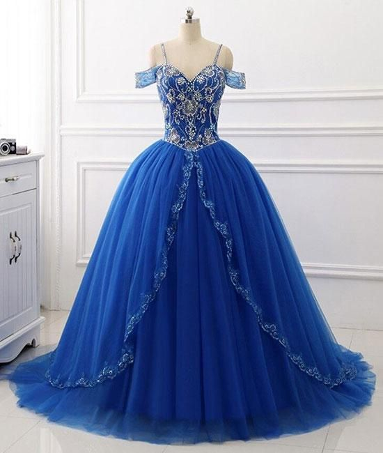 Blue sweetheart beads sequin long prom gown, blue evening dresses,PD46 – Princesssbride