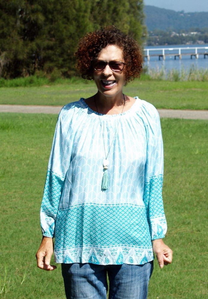NWT PLUS SIZE Pretty Mint+Green Border Print Tunic+Top 3 Sizes  to fit 10 to 24