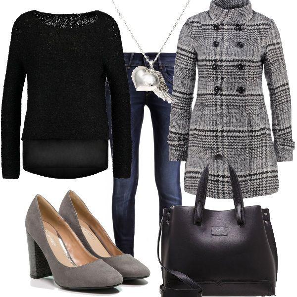 Outfit+semplice+e+comodo+per+tutti+i+giorni.+Jeans+skinny+abbinato+a+maglione+black+con+scollo+tondo.+Cappotto+delizioso,+con+fantasia+a+scacchi+black+e+white+e+collo+alla+coreana.+Décolleté+grey+con+tacco+alto+ma+largo+e+shopping+bag+nera.+Come+gioiello,+per+illuminare+il+nostro+look,+ho+scelto+una+collana+con+ciondolo+in+metallo.