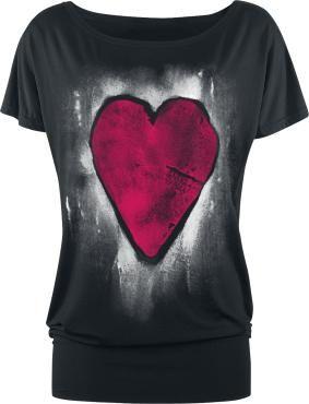 Xxl Full Volume by EMP:n Heart Of Stone -T-paita, jossa on leveä resori helmassa ja suuri etupainatus.