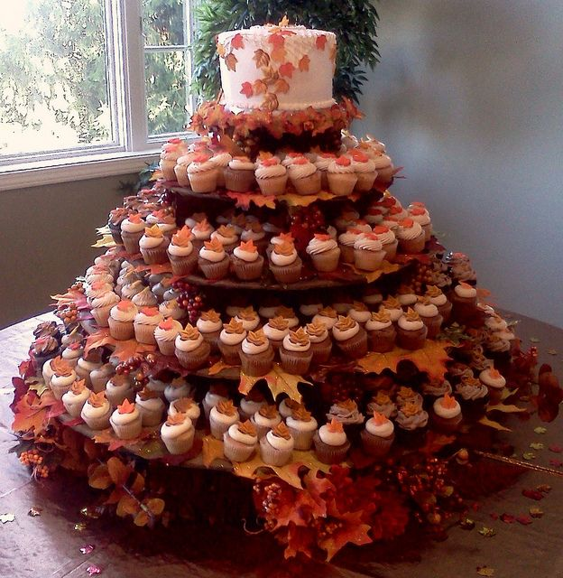 Fall Leaves Theme Wedding Cake And Cupcakes