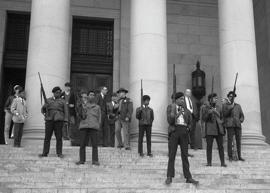 Black Panthers protesting the Mulford Act (a ban on open carry) on the steps the state capitol Olympia Washington 1969 http://ift.tt/2vHuCdu