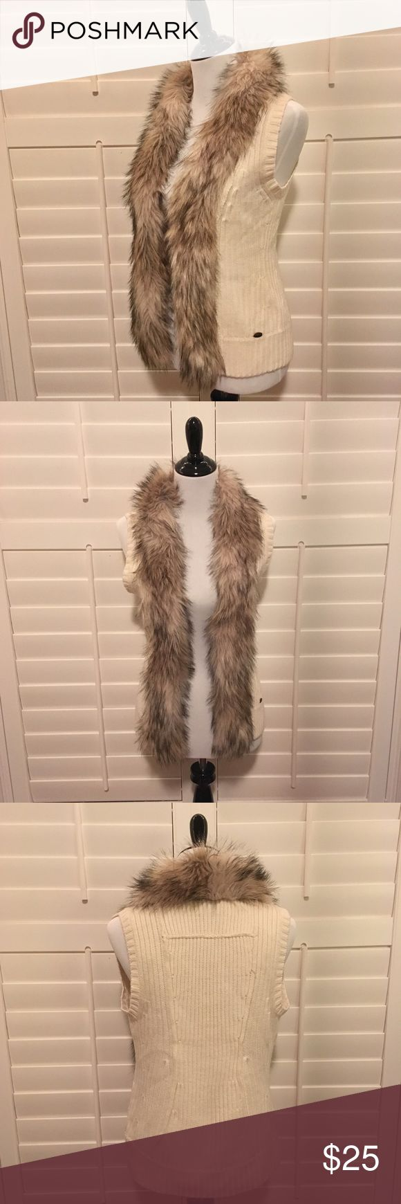 GUESS Faux Fur Trimmed Sweater Vest GUESS Faux Fur Trimmed Sweater Vest Given as gift purchased in NYC Never worn Size Large Guess Jackets & Coats Vests