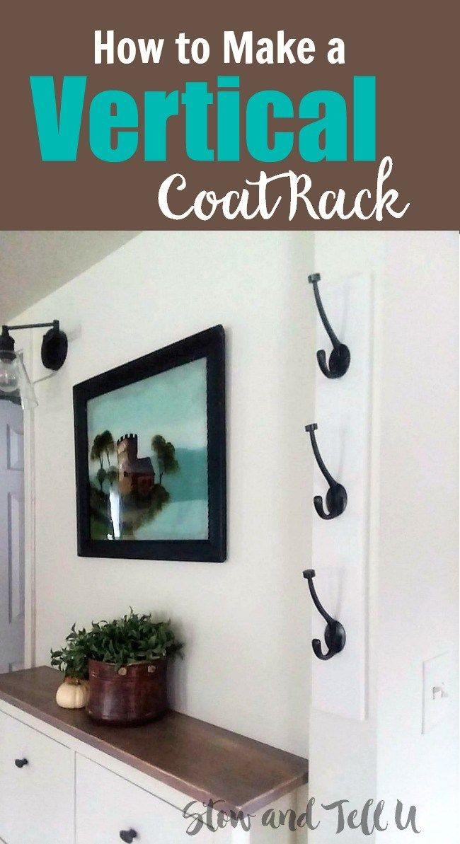 Diy Wall Mounted Vertical Coat Rack With Hooks Diy Coat Rack Coat Rack Coat Hooks Wall Mounted