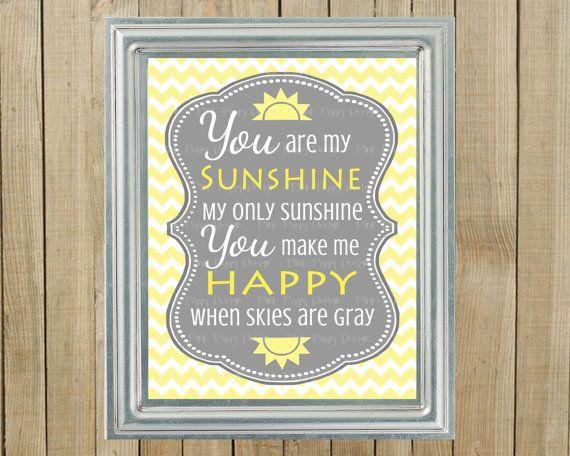 Trendy Yellow Chevron With Gray You Are My Sunshine Nursery Wall Decor,  Playroom, Gift