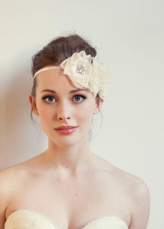 Triple Flower Headband/ Sash, Silk Bridal Sash, Rhinestone Headband, Suzette