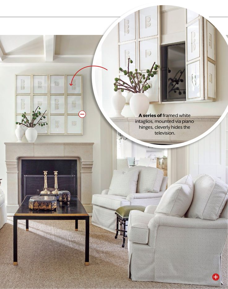 genius way to hide a living room television, southern living