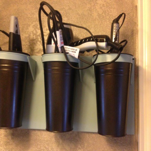 I used a garden flower holder for my curling irons/ hair dryer and flat iron in my bathroom. I painted a black one I found at Homegoods to match my bathroom.