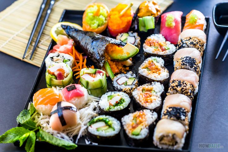 Contains details on different types of sushi, their technique, ingredients specialty, garnish, and condiment plus a list of American top favorite sushi.
