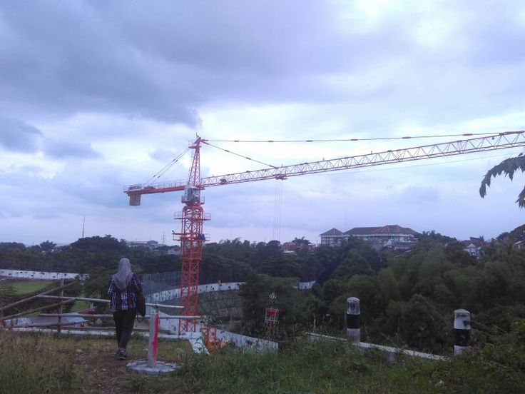 A lady and red giant crane