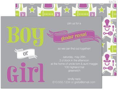 Gender Reveal Baby Shower Invitations: Shower Ideas, Baby Gender, Baby Shower Invitations, Baby Ideas, Baby Girl, Party Idea, Baby Showers