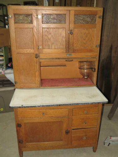 Details About Antique Seller S Oak Kitchen Cabinet Flour