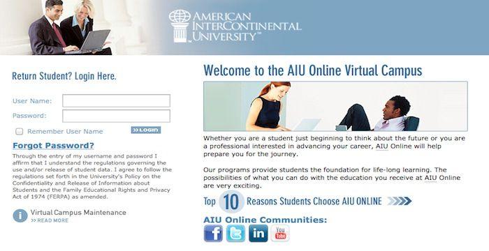aiu student login online