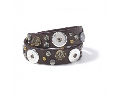 double skinny studded - darkbrown - Armbanden - NOOSA-Amsterdam Original collection