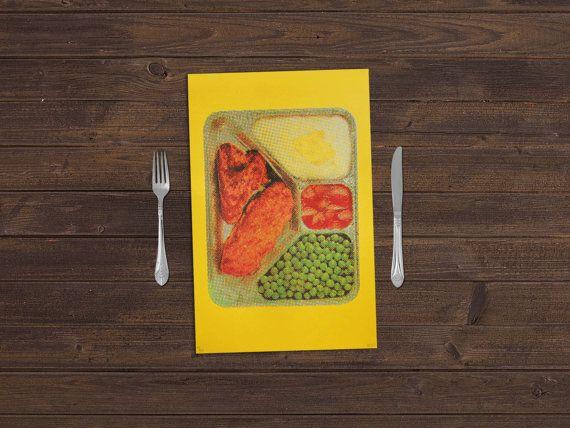 12,5 x 19 - tout comme maman - sérigraphie rétro TV Dinner sur Lemon Drop Paper - cuisine Art - Art Print