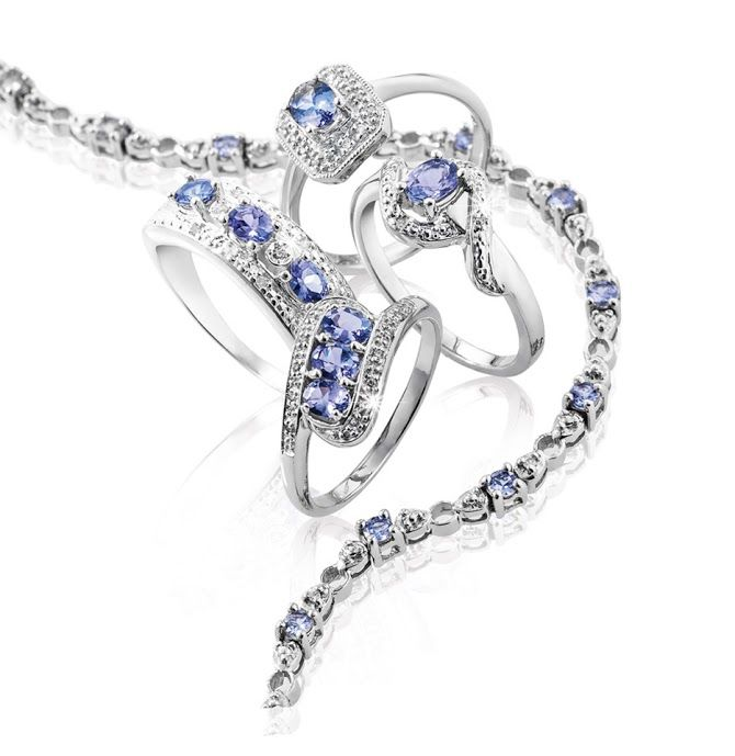 Silver and Tanzanite Necklace R1,768 and Rings Top: R1,196 Left: R1,157 Right: R988 Bottom: R949  *Prices Valid Until 25 Dec 2013