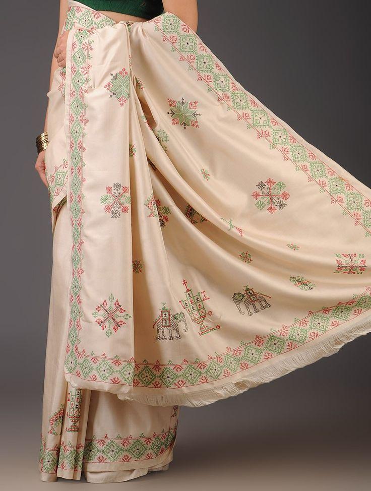 Ivory Silk Kasuti Handwoven Saree  Buy Sarees Gt Woven