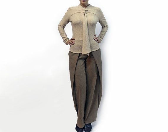 blousebeige blouseknitted blousecravatlong by AnnaPerena on Etsy, $69.00